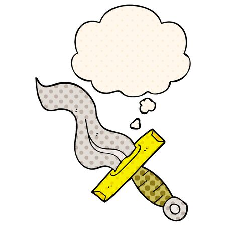 cartoon dagger with thought bubble in comic book style  イラスト・ベクター素材