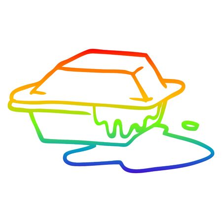 rainbow gradient line drawing of a cartoon cheesy takeout