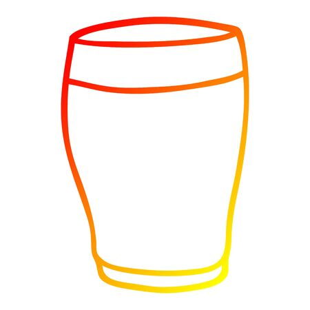 warm gradient line drawing of a cartoon glass of milk