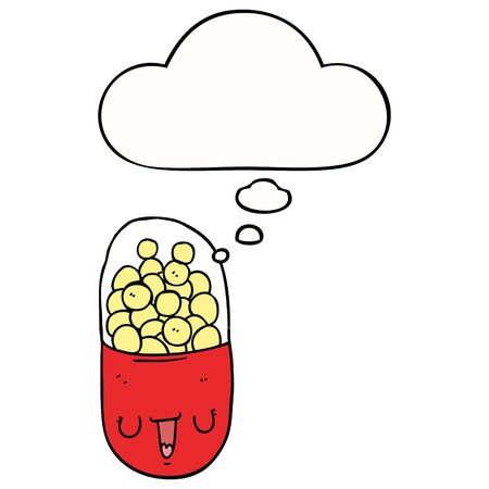 cartoon medical pill with thought bubble