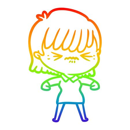 rainbow gradient line drawing of a annoyed cartoon girl Banco de Imagens - 128601032