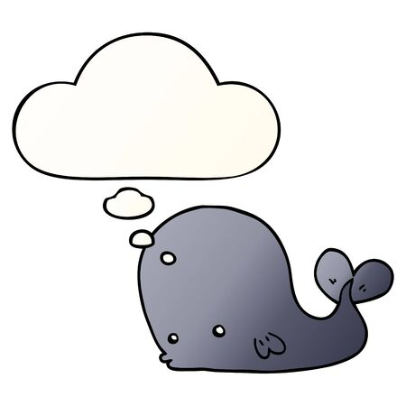 cartoon whale with thought bubble in smooth gradient style