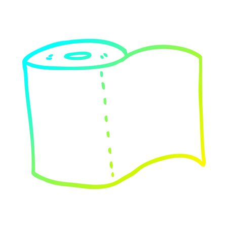 cold gradient line drawing of a cartoon toilet roll Illustration
