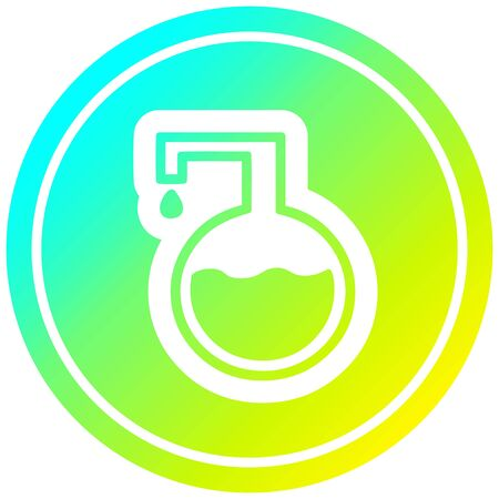 science experiment circular icon with cool gradient finish Çizim