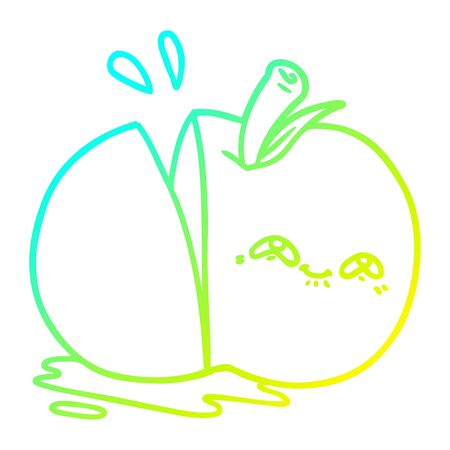 cold gradient line drawing of a cartoon sliced apple