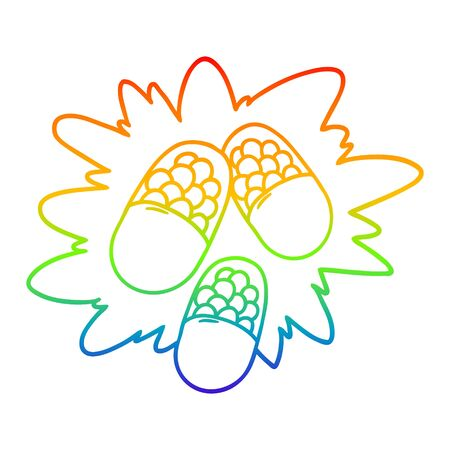 rainbow gradient line drawing of a cartoon powerful pills Illustration