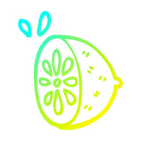 cold gradient line drawing of a cartoon lime fruit Ilustração