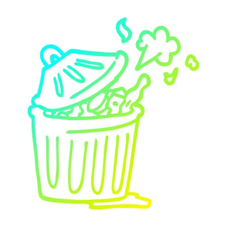 cold gradient line drawing of a cartoon waste bin