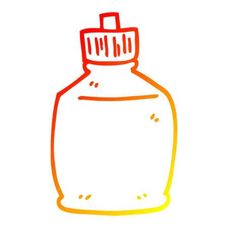 warm gradient line drawing of a cartoon squirt bottle