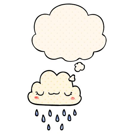 cartoon storm cloud with thought bubble in comic book style Illusztráció
