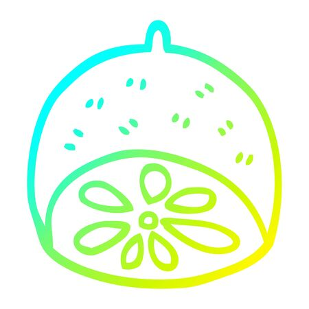 cold gradient line drawing of a cartoon lime fruit 일러스트