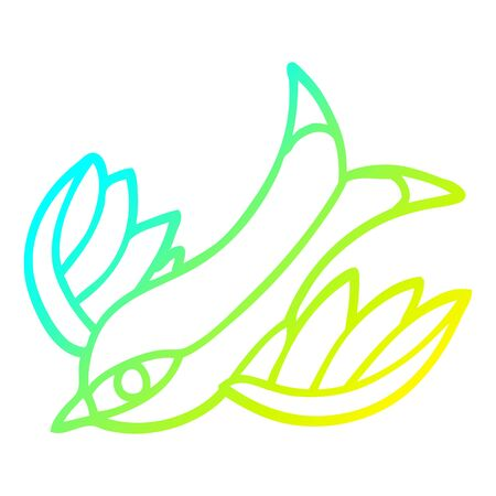 cold gradient line drawing of a cartoon tattoo swallow symbol