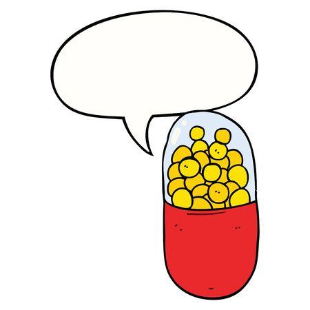cartoon pill with speech bubble Ilustração