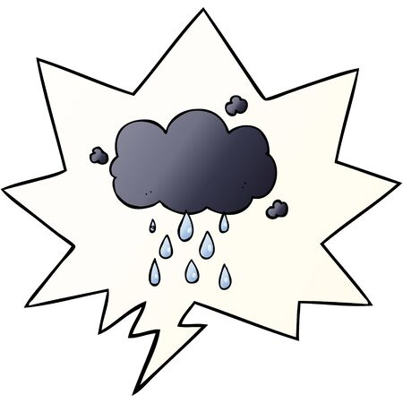 cartoon cloud raining with speech bubble in smooth gradient style Illustration