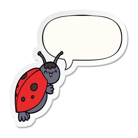 cute cartoon ladybug with speech bubble sticker Ilustracja