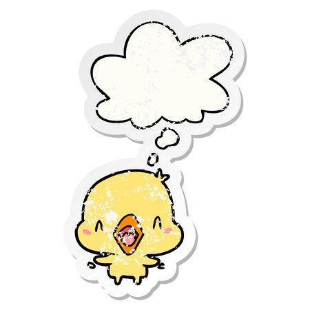 cartoon happy bird with thought bubble as a distressed worn sticker