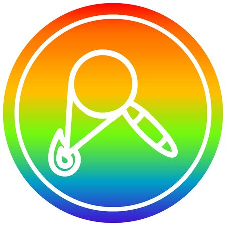 magnifying glass burning circular icon with rainbow gradient finish