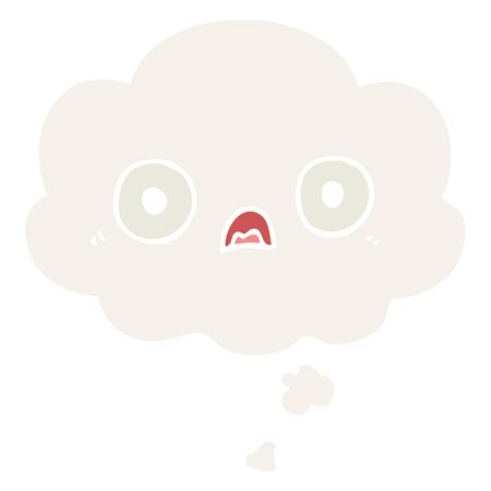 cute cartoon face with thought bubble in retro style Ilustração
