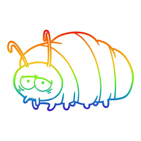 rainbow gradient line drawing of a cartoon bug  イラスト・ベクター素材