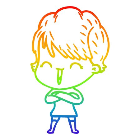rainbow gradient line drawing of a cartoon laughing woman Ilustracja