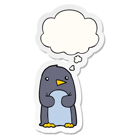 cartoon penguin with thought bubble as a printed sticker
