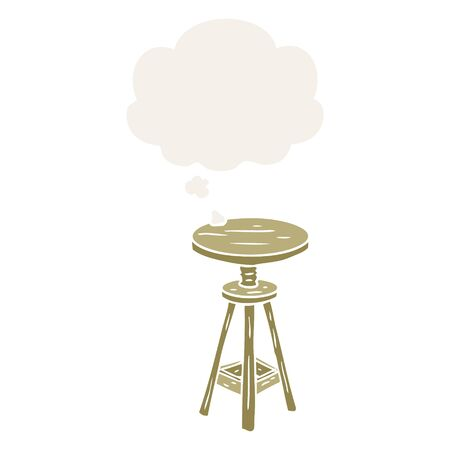 cartoon artist stool with thought bubble in retro style 일러스트