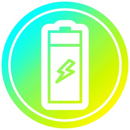 battery circular icon with cool gradient finish Çizim