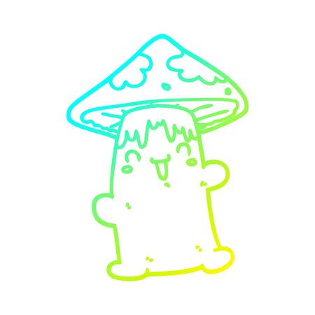 cold gradient line drawing of a cartoon mushroom character