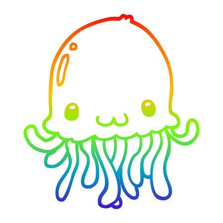 rainbow gradient line drawing of a cartoon jellyfish 向量圖像