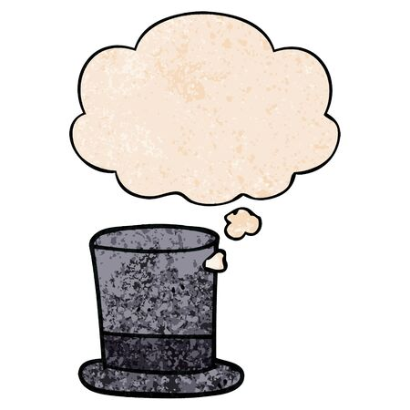 cartoon top hat with thought bubble in grunge texture style Illustration