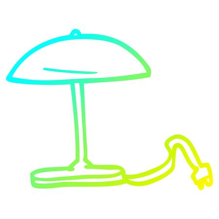 cold gradient line drawing of a cartoon desk lamp