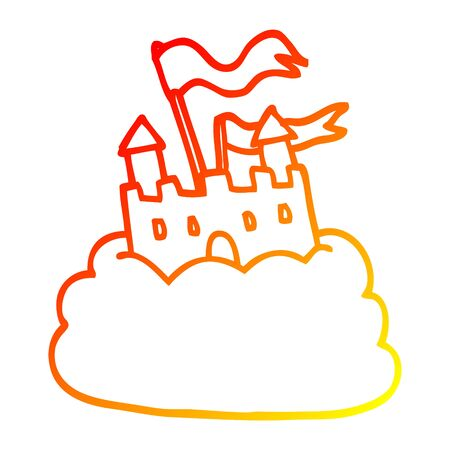 warm gradient line drawing of a cartoon castle on cloud