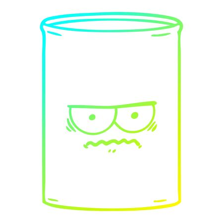 cold gradient line drawing of a cartoon oil drum