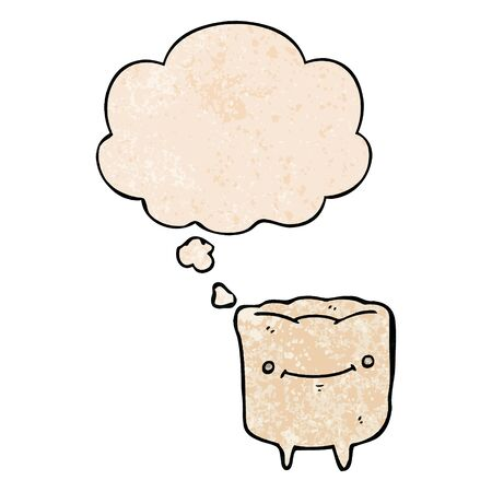 cartoon happy tooth with thought bubble in grunge texture style