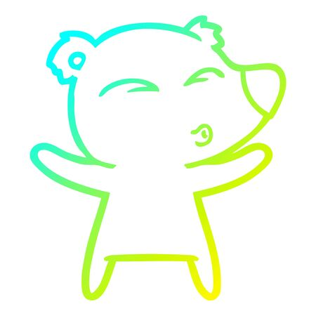 cold gradient line drawing of a cartoon whistling bear with open arms