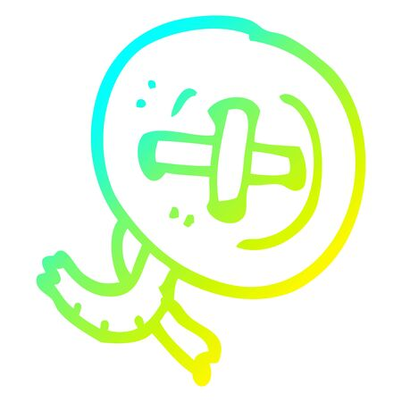 cold gradient line drawing of a cartoon old button