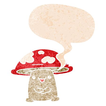 cartoon mushroom character with speech bubble in grunge distressed retro textured style