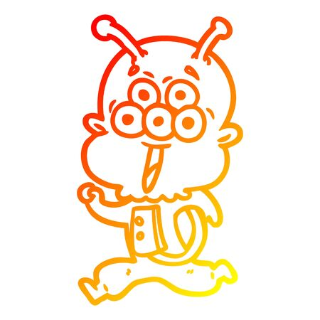 warm gradient line drawing of a happy cartoon alien running 向量圖像