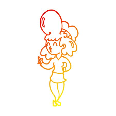 warm gradient line drawing of a cartoon woman with big hair