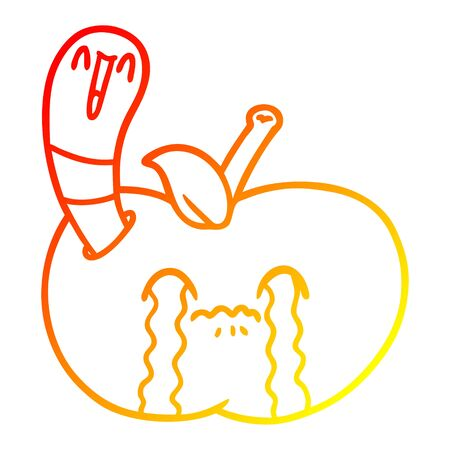 warm gradient line drawing of a cartoon worm eating an apple Ilustracja