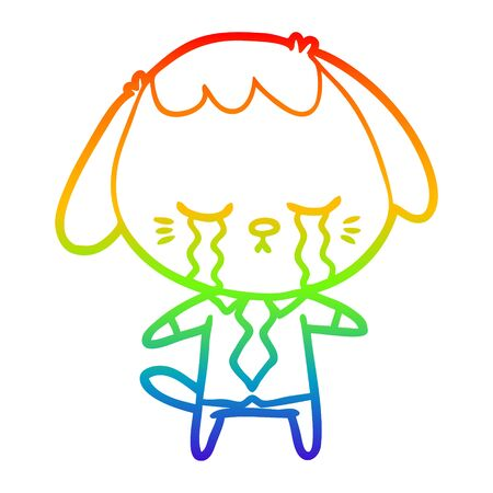 rainbow gradient line drawing of a cartoon dog crying