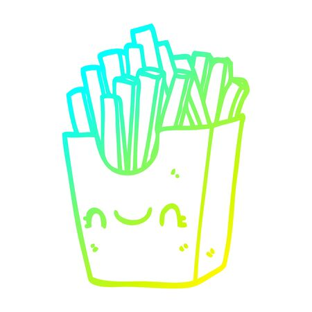 cold gradient line drawing of a cartoon fries in box 일러스트