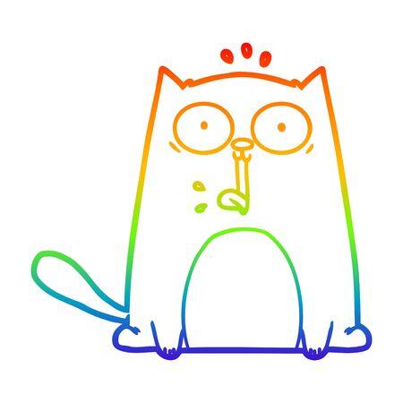 rainbow gradient line drawing of a funny cartoon cat 일러스트