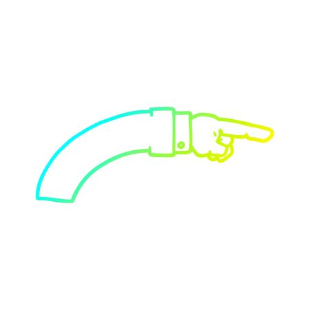 cold gradient line drawing of a cartoon business arm pointing