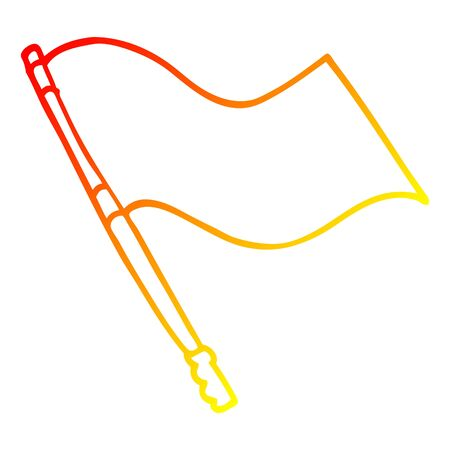 warm gradient line drawing of a cartoon flag Banque d'images - 128627979