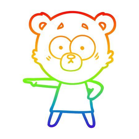 rainbow gradient line drawing of a nervous polar bear cartoon