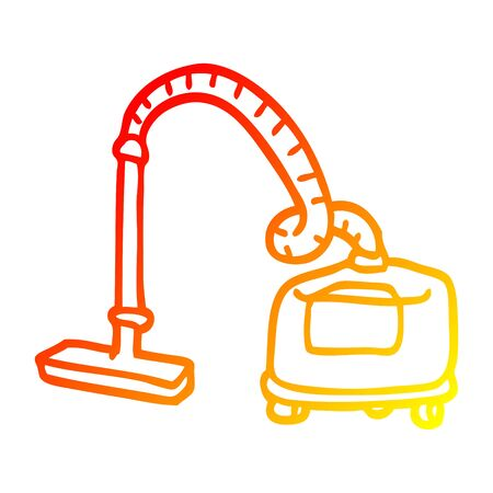 warm gradient line drawing of a cartoon vacuum