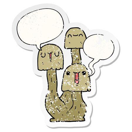 cartoon mushroom with speech bubble distressed distressed old sticker