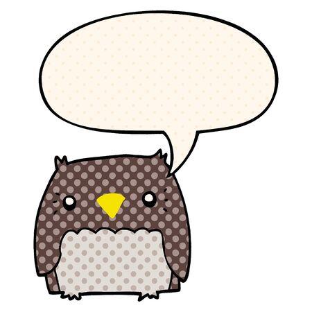 cute cartoon owl with speech bubble in comic book style 矢量图片
