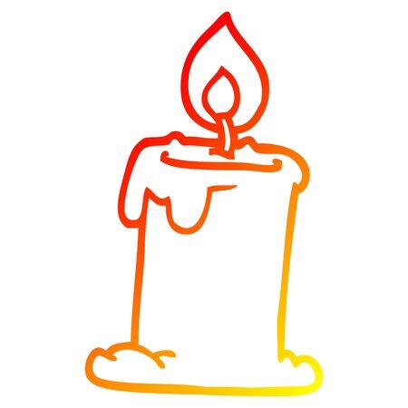 dessin au trait dégradé chaud d'une bougie allumée en dessin animé